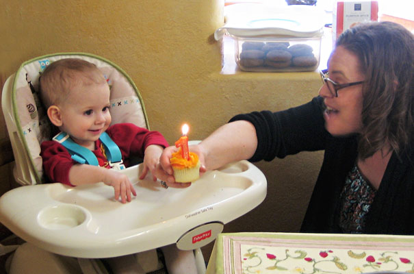 Celebrating Lizzie's first birthday on Thanksgiving Day