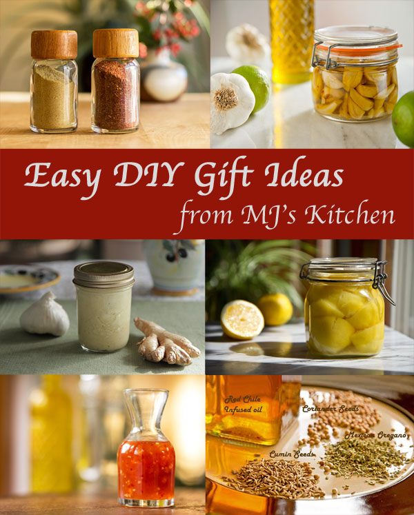 An assortment of ideas for DIY gifts from infused oils to vinegars from mjskitchen.com @mjskitchen
