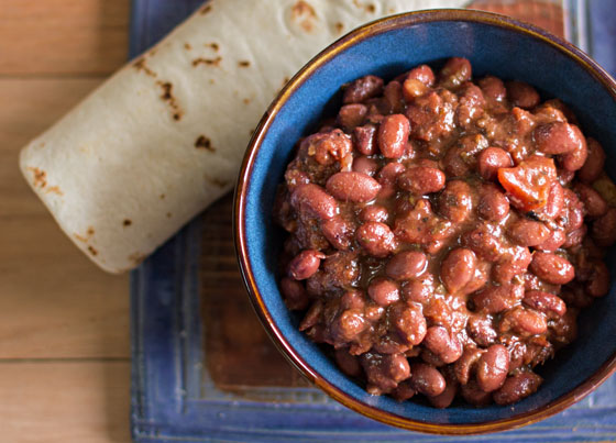 Slow cooked pot of spicy red beans. mjskitchen.com