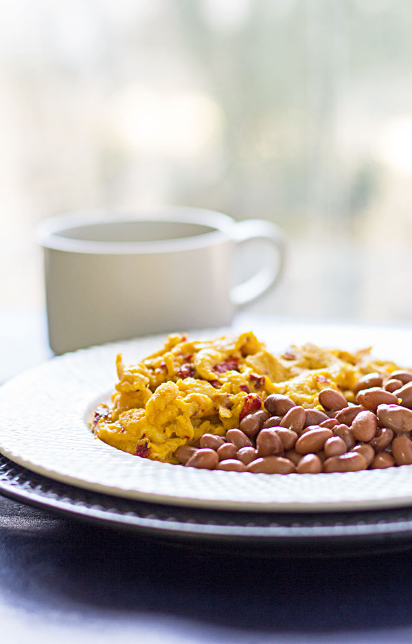 Our favorite Scrambled Eggs - Farm fresh eggs scrambled with roasted red chile and cotija cheese #chile #cotija #eggs #breakfast @mjskitchen